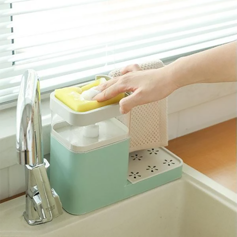 3 in 1 Soap Pump Dispenser Container Sponge Holder