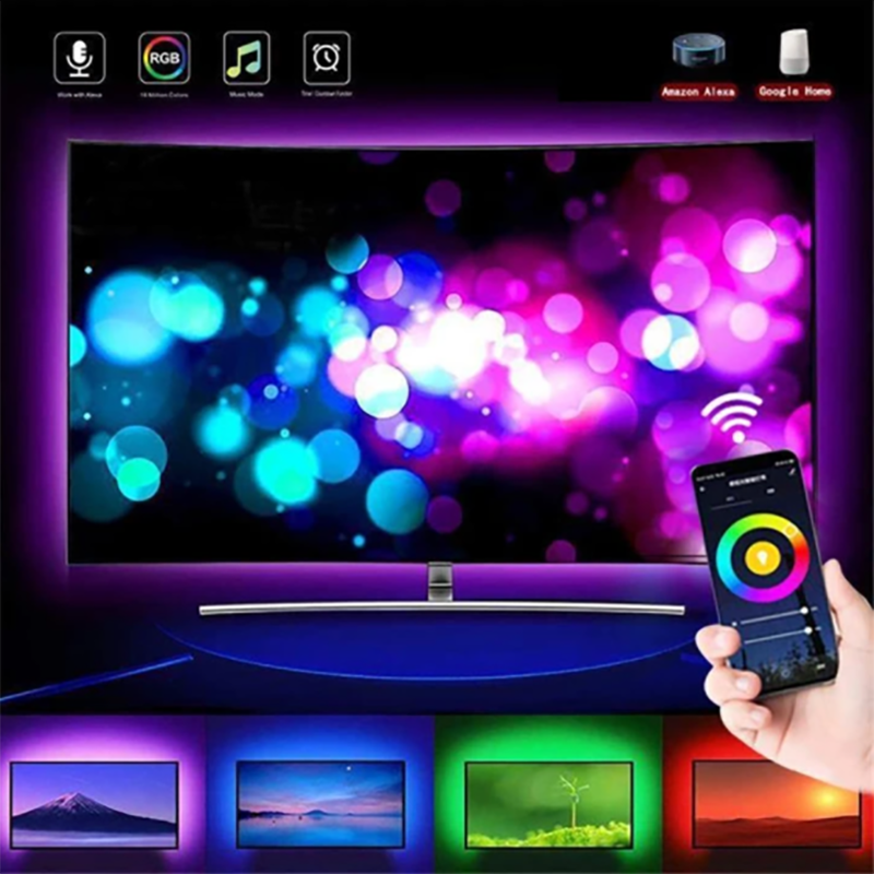 USB RGB Colored Rope Light Strip Kit
