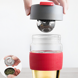 Magic Tea Cup with Stainless Steel Tea Ball Glass Bottle