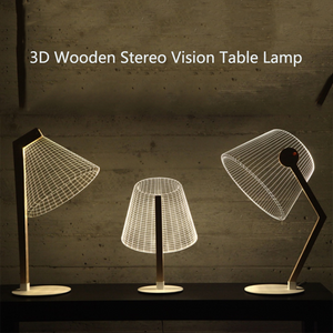 3D Wooden Stereo Vision Table Lamp