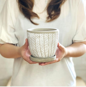 Herringbone White Ceramic Planter