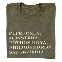 Load image into Gallery viewer, Perperomia, Monstera, Pothos, Hoya, Philodendron amd Sansevieria T-shirt