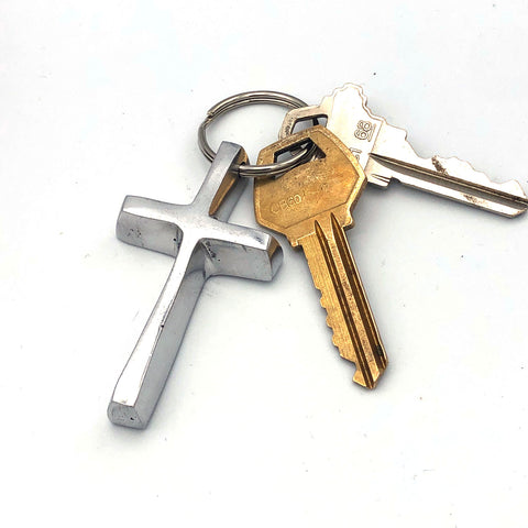 Recycled Aluminum Cross Keychain