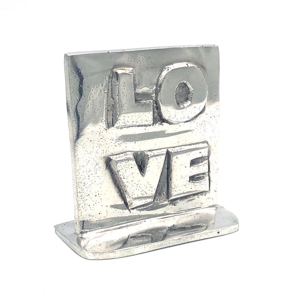Recycled Aluminum LOVE with base