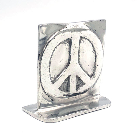 Recycled Aluminum Peace Sign with base