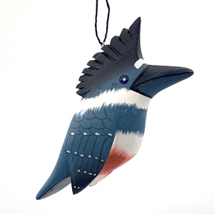Belted Kingfisher Balsa Ornament