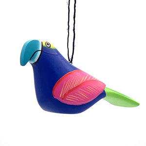 Blue Macaw Balsa Ornament