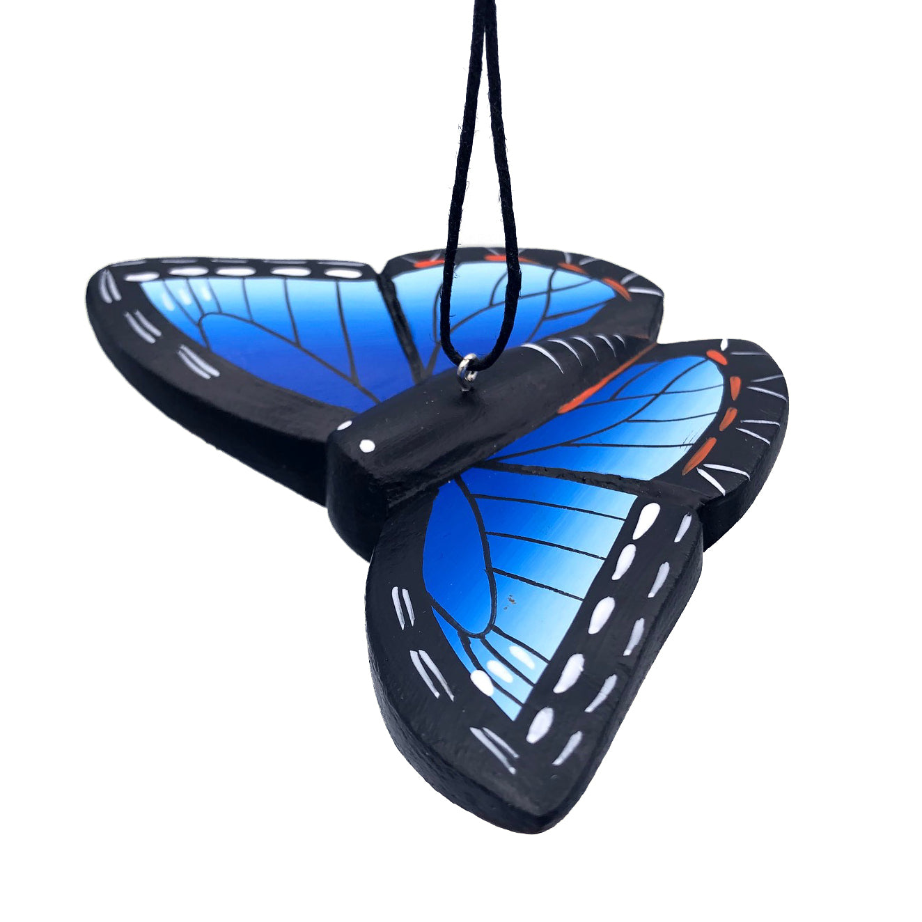 Blue Morpho Butterfly Balsa Ornament