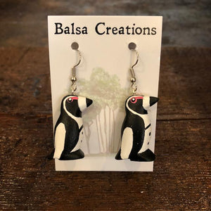 African Penguin Balsa Earrings
