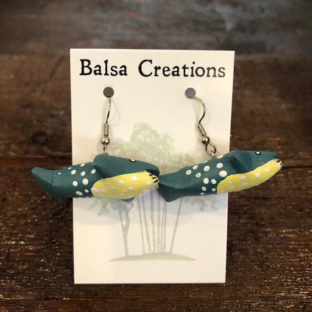 Blue Whale Balsa Earrings