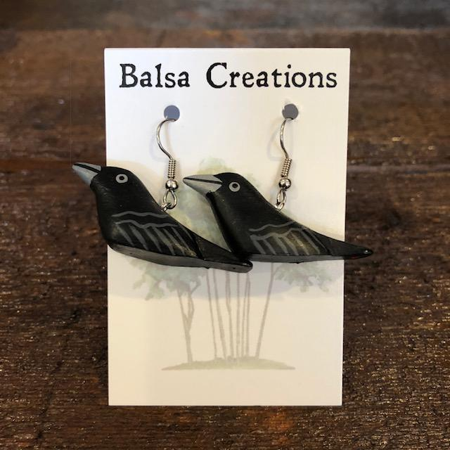 Crow Balsa Earrings