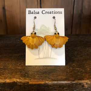Flying Bat Balsa Earrings