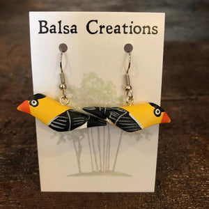 American Goldfinch Balsa Earrings