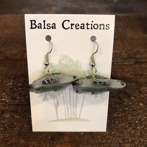 Olive Ridley Turtle Balsa Earrings