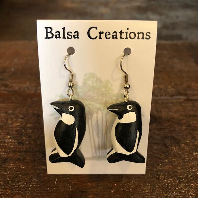 Penguin Balsa Earrings