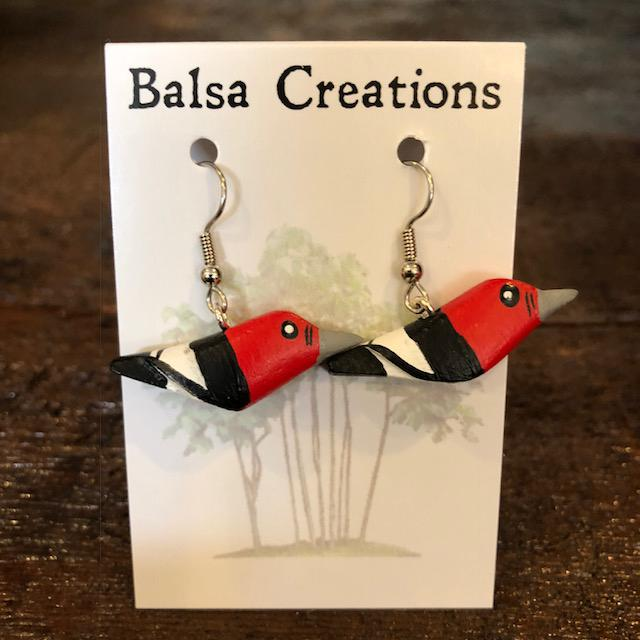 Red-headed Woodpecker Balsa Earrings