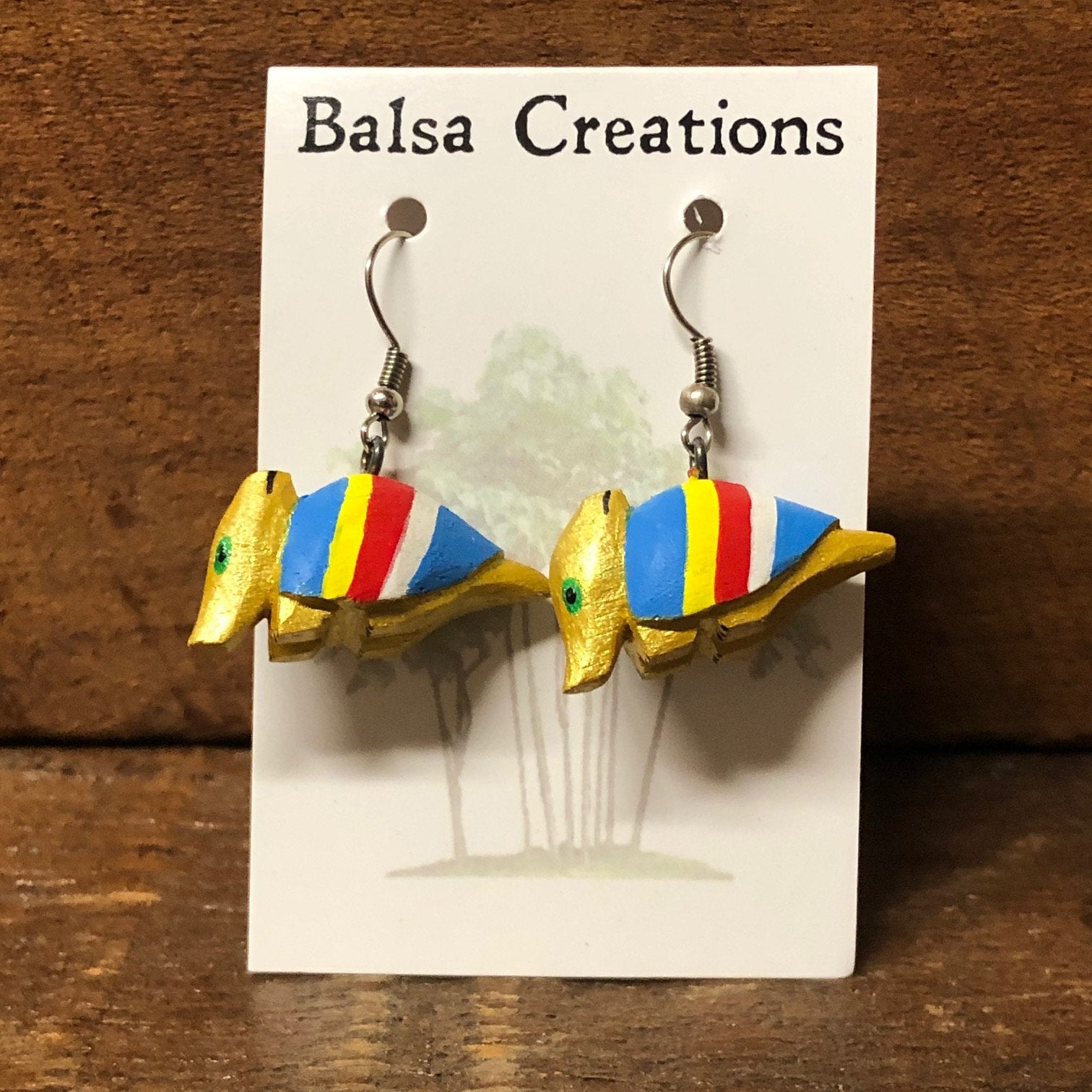 Whimsical Armadillo Balsa Earrings