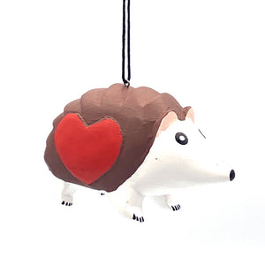 Hedgehog with Heart Balsa Ornament