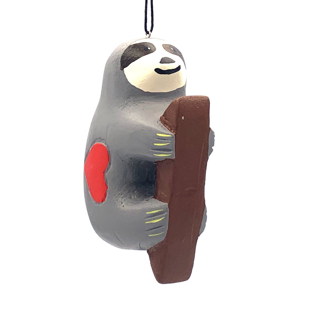 Sloth with Heart Balsa Ornament