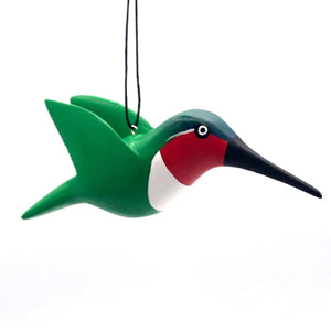 Ruby Throated Hummingbird Balsa Ornament