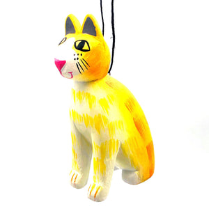 Striped Cat Balsa Ornament