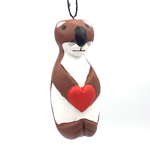 Sea Otter with Heart Balsa Ornament