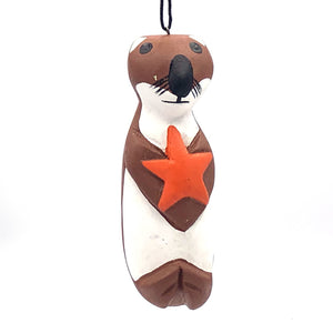 Sea Otter with Star Balsa Ornament