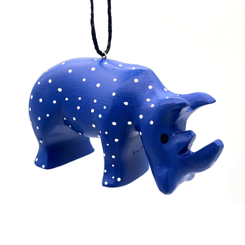 Whimsical Rhino Balsa Ornament
