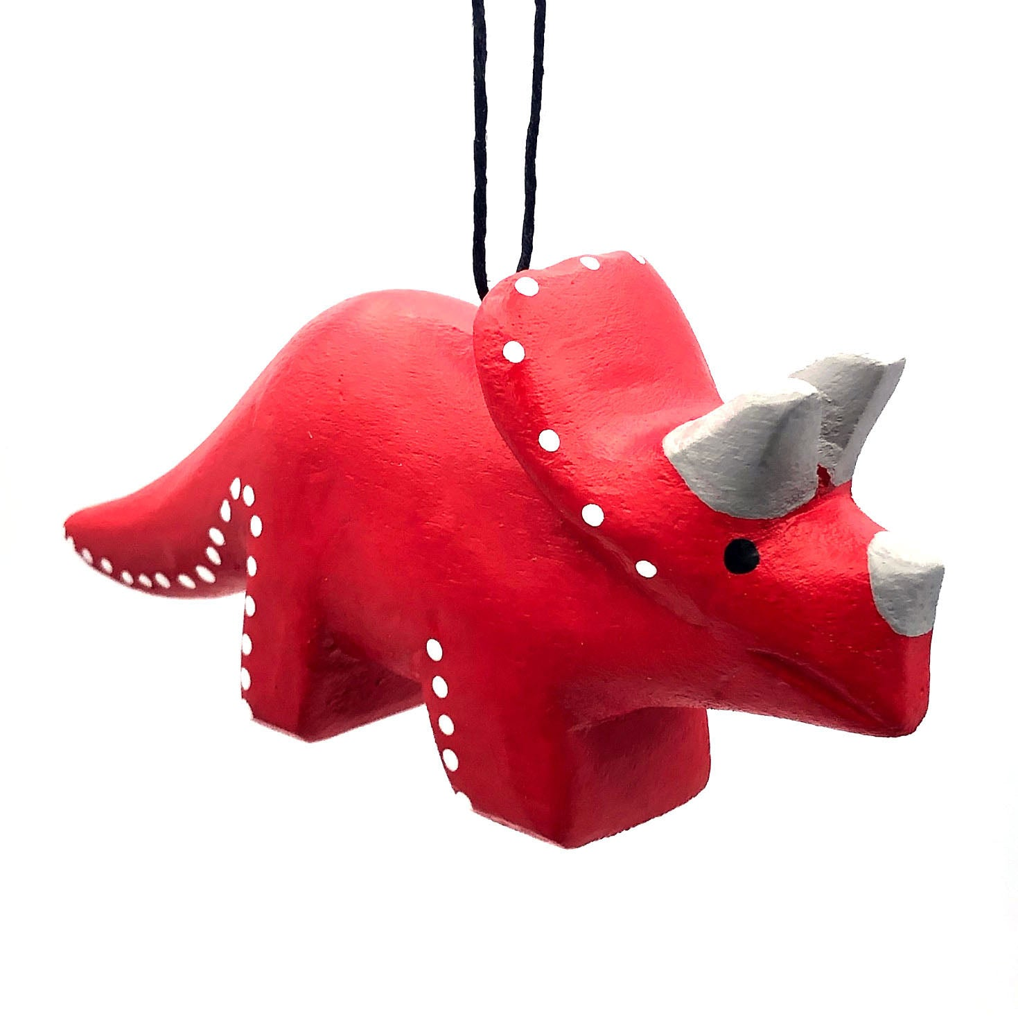 Whimsical Triceratops Balsa Ornament