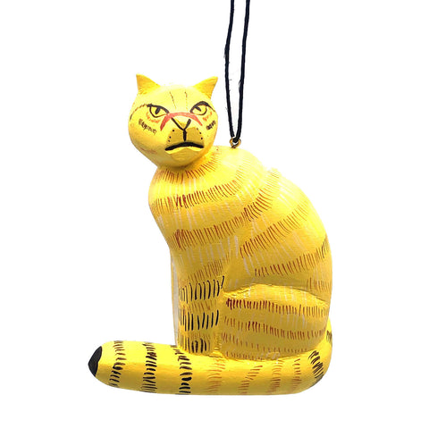 Yellow Cat Balsa Ornament