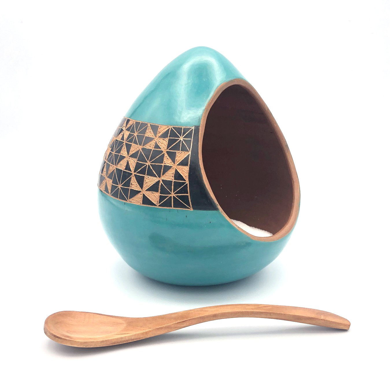 Salt Cellar (Turquoise with Black Geometric)