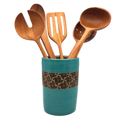 Ceramic Utensil Holder (Turquoise with Black Geometric)