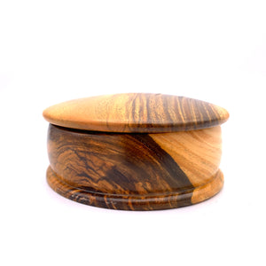 Tropical Hardwood Round Lidded Jewelry Box