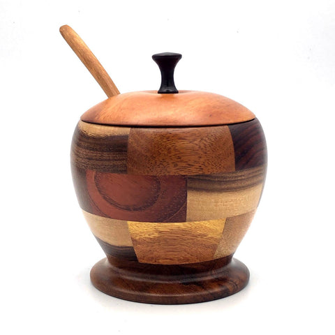 Tropical Hardwood Multi-wood Sugar Bowl with Lid & Spoon