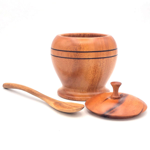 Tropical Hardwood Sugar Bowl with Lid and Spoon