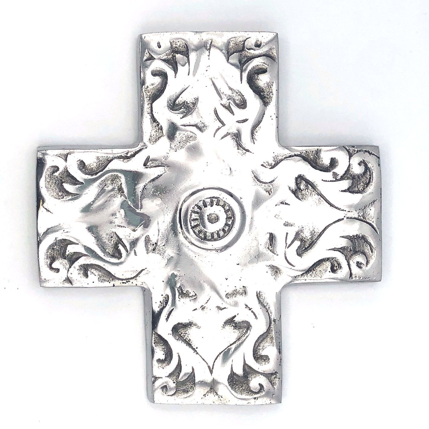 Recycled Aluminum Scrolled Cross