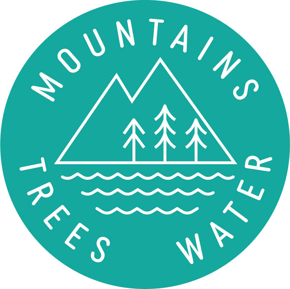 Mountains Trees Water Round Sticker