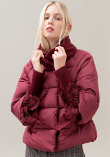 Padding jacket over fit with neck made in eco fur