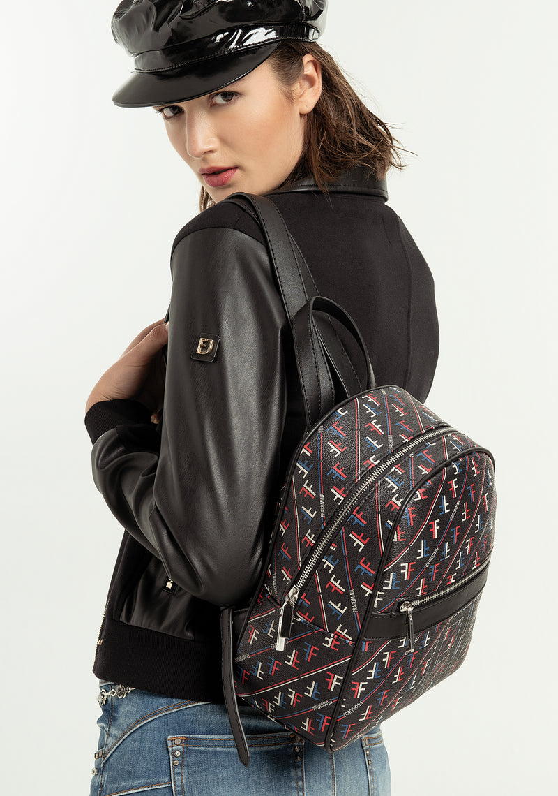 Backpack regular size made in eco leather with multicolor pattern