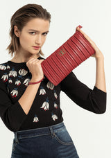 Clutch bag regular size made in eco leather with embossed effect