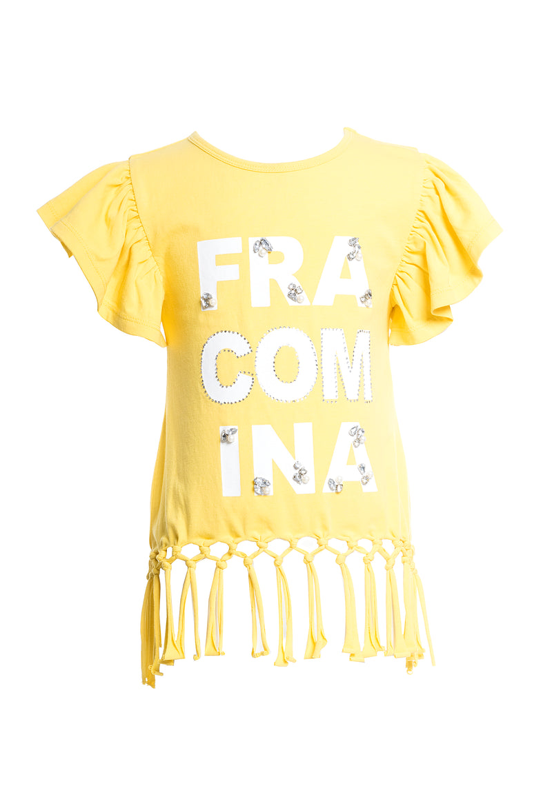 T-shirt loose fit with logo print and shiny applications-FRACOMINA MINI-FM20SSB1119