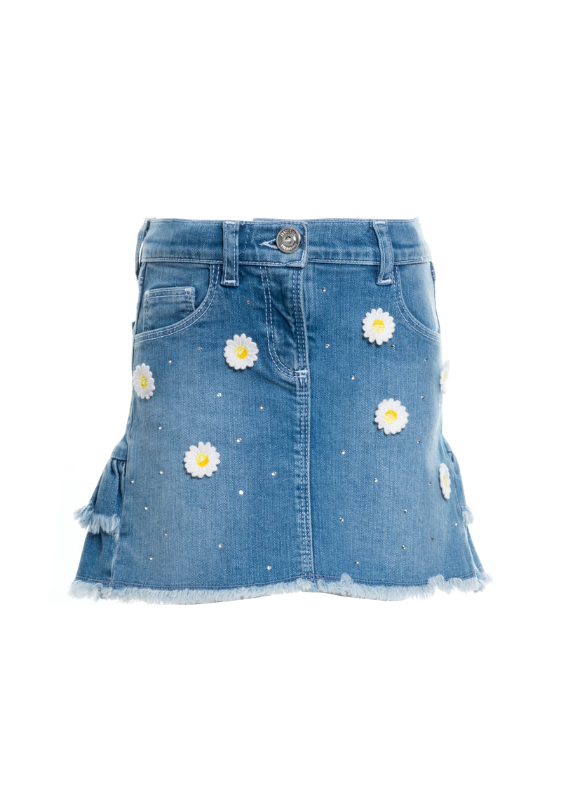 Denim Skirt regular fit with mid washing-FRACOMINA MINI-FM20SSB1209