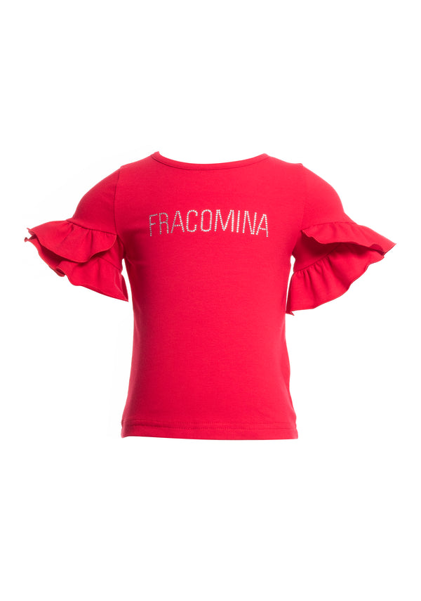 T-shirt regular fit with shiny logo print-FRACOMINA MINI-FM20SSB1408
