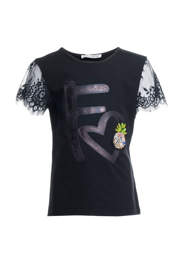 T-shirt regular fit with metallic print-FRACOMINA MINI-FM20SSG1081