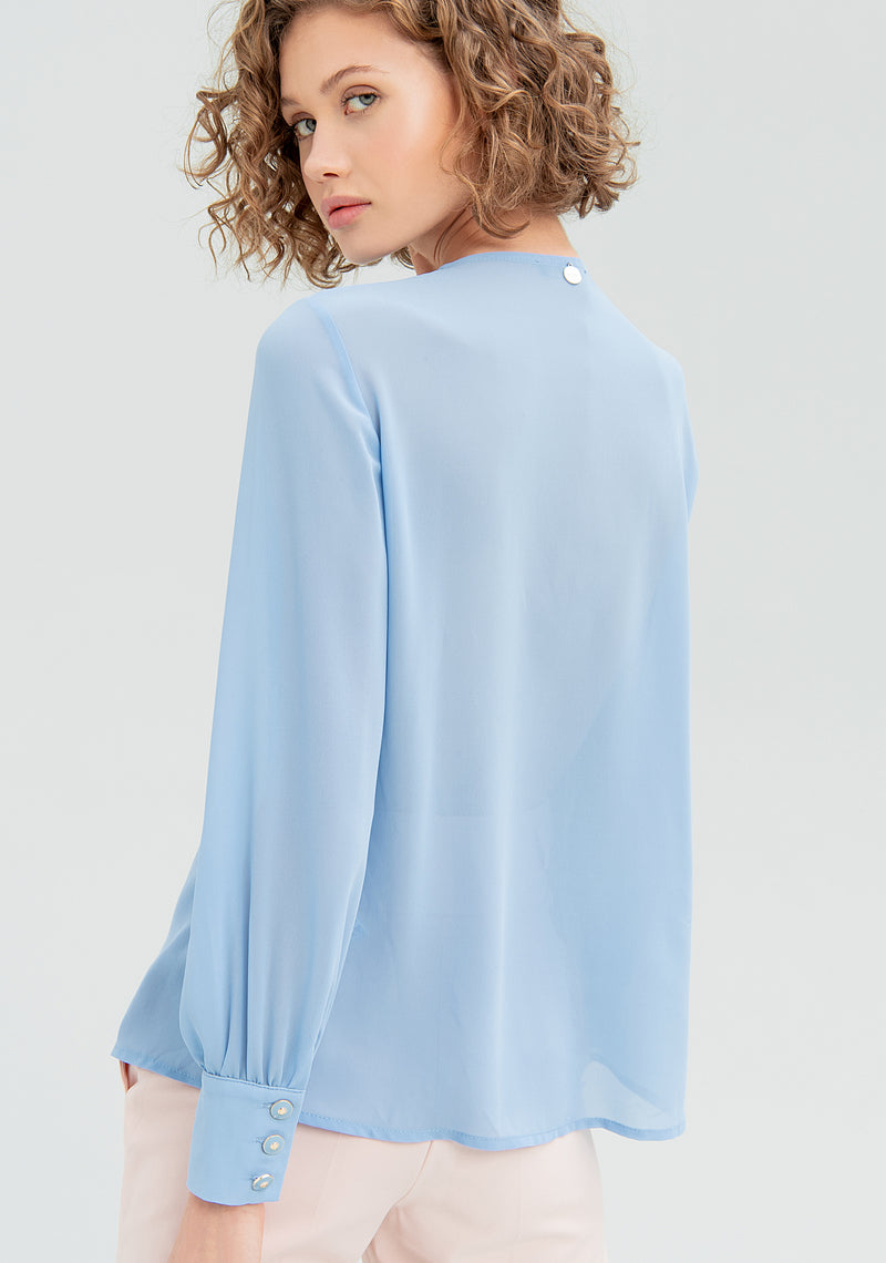 Blouse with pleated insert-FRACOMINA-FR20SM013