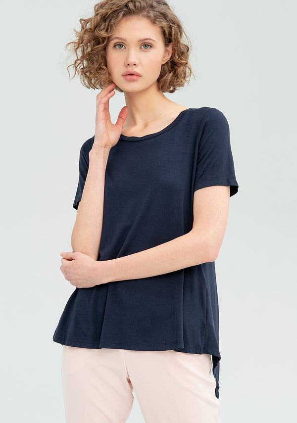 Asymmetric short-sleeved T-shirt-FRACOMINA-FR20SM031