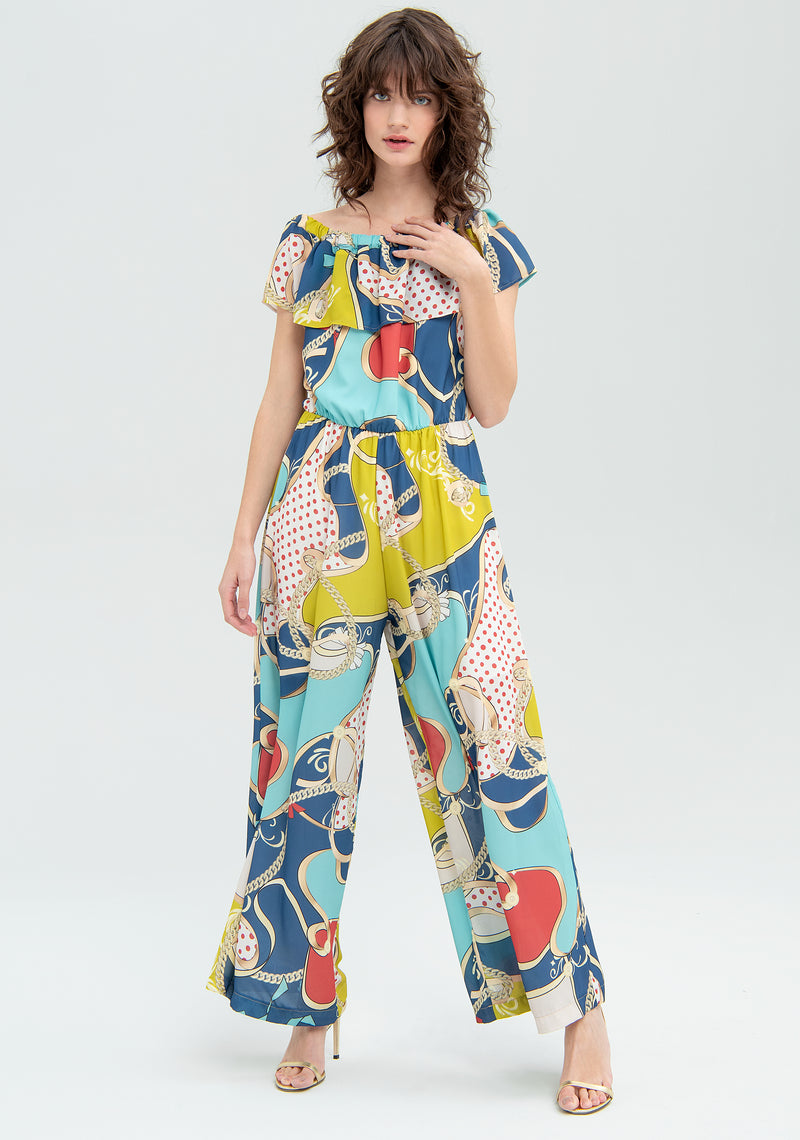 Patterned jumpsuit with ruffles-FRACOMINA-FR20SM032