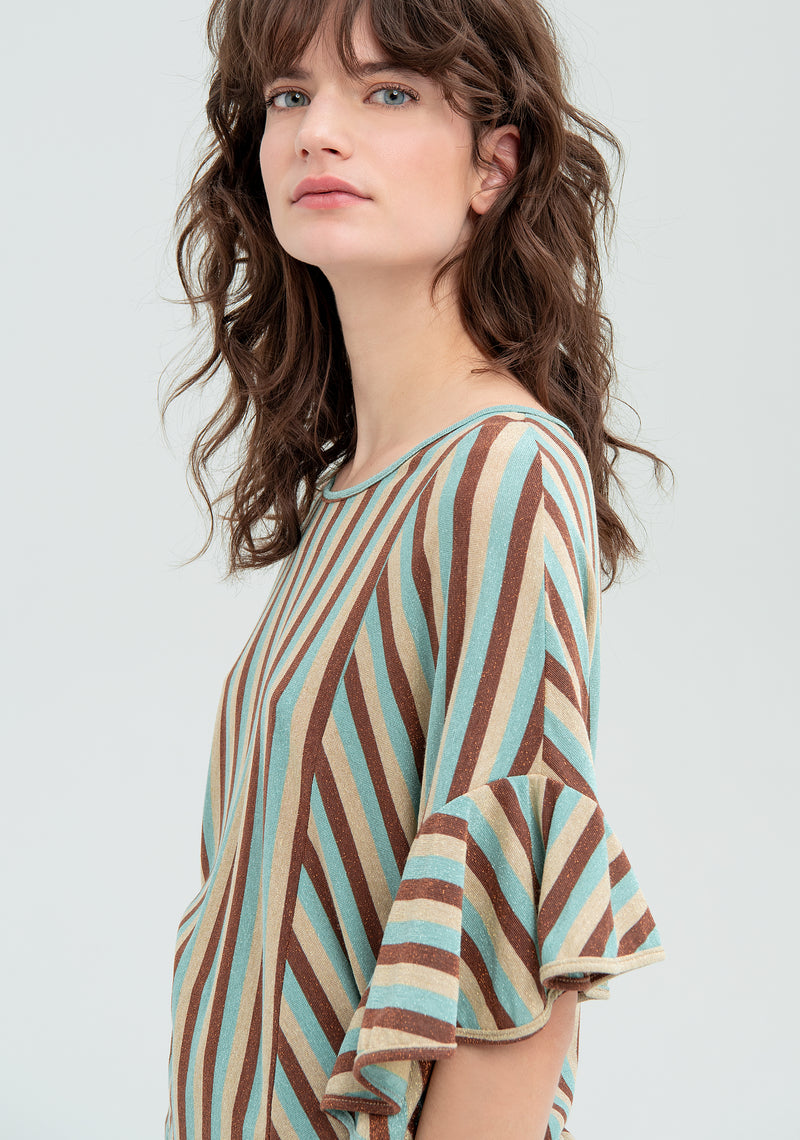 Striped blouse with ruffles-FRACOMINA-FR20SM050