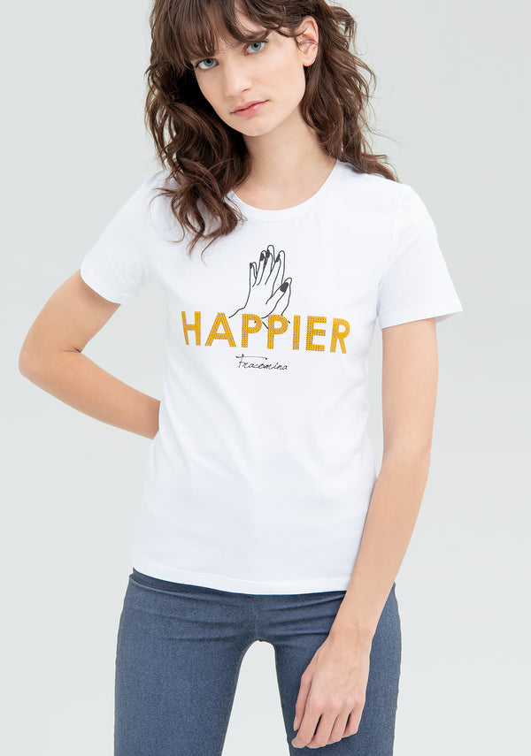 T-shirt with Happier print-FRACOMINA-FR20SM330