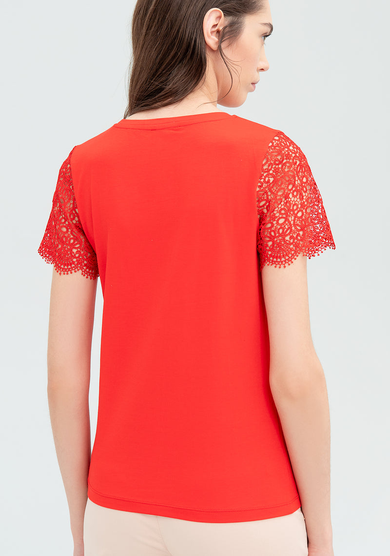 T-shirt with lace inserts